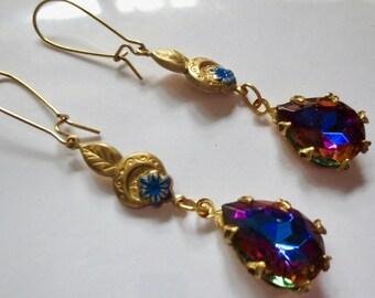Edwardian earrings vintage style  1920s 1930s Art Deco earrings blue crystal drop long Victorian earrings Edwardian jewellery