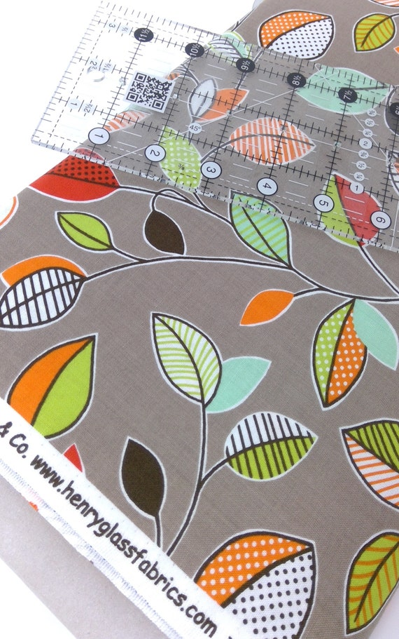 Vintage Leaf Design With A Modern Twist On A Brownish Grey Clean Living by Barbara Jones of Quilt Soup, Quilt Fabric By The Yard 6687 33