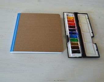 """Square watercolor journal, sketchbook, art journal  8"""" x 8"""" (20.5x20.5 cm), with 40 pages of 300 gsm Fabriano cold pressed watercolor paper"""