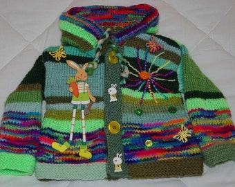 VEST 1 AN original knitted hands Pixie hood
