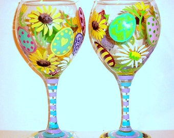 Easter Eggs & Daisie's Hand Painted Wine Glasses Set of  2 - 20 oz. Red Wine Globlets Daisy Sunflowers Pastel Colors Green Pink Lavender