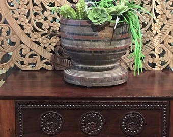 Old Carved wooden planter, Indian wooden ukhali, wooden pot