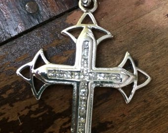 Large Sterling Silver CZ Cross on Long Box Chain