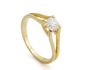 1 carat Diamond Engagement Ring-Solitaire ring-14K Yellow Gold -Women Jewelry-Promise ring-Bridal Jewelry-Anniversary-Wedding&Engagement