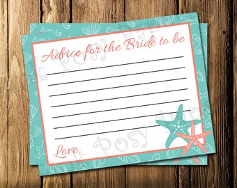 Printable Starfish Beach Bridal Shower Advice Cards - Instant Download