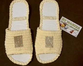 Crochet Slippers Womens Flats yelow  . Slipper   .Crochet  Shoes