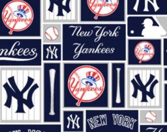 New York Yankees fabric Major League Baseball MLB Team patchwork 100% cotton fabric by the yard navy white red bat Big Apple - 1 yard