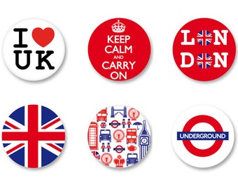 Lot Pins Ø25mm - o38mm Pinback Button Badge / Magnet o38mm United Kingdom UK