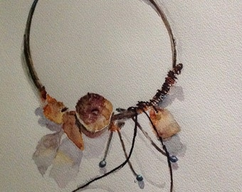 giclee reproduction of original watercolour of closed necklace