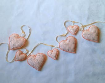 Hanging hearts, heart garland, pandas, orange, white, hand stitched, fabric bunting, nursery garland, bedroom, animal lover, baby shower