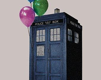 Tardis  Doctor Who Birthday Card Inspired Hand Drawn  Fan Art Blank Card