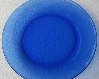 "Arcoroc Cobalt Blue Thick Glass Side Plate 7 1/2""- New- Made In France"