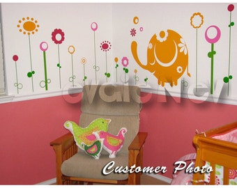 Wall Decals Canada Kids - Baby Elephant with Flowers Wall Stickers - FLWD020