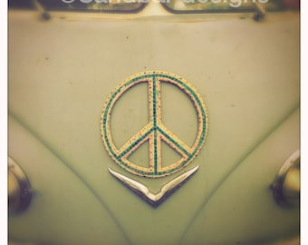 4 x 4 photo card-Peace be with you VW bus