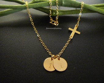 Sideways Cross Necklace - One or Two Initial Disc Necklace - Bridesmaid Gifts Jewelry - Personalized - Mom Necklace - 1 2 3 4 5 6 - Silver