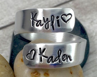 Mothers Day Gift - Mom Ring - Mother Ring - Name Ring - Personalized Ring - Thumb Ring - Mommy Ring - Wrap Ring - Hand Stamped