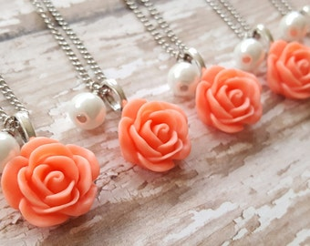 Custom Set of Five - Bridesmaid Coral Rose Necklace - Antique Coral Rose Necklace -Bridesmaid Necklace - Flowergirl Necklace - Coral Wedding