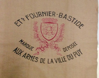 FRENCH Crest Motif 26x26 pillow front /chair upholstery fabric square tan black red stripe