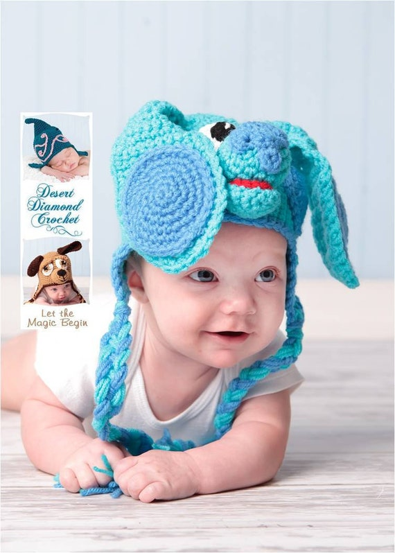 Crochet Pattern 030 - Blue Puppy Earflap Beanie Hat - All Sizes