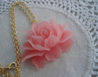 Vintage Celluloid Rose Matte Iced Pink Flower Pendant Gold Necklace Nature Inspired