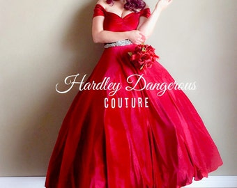 SALE! 3 Piece Set! Cherry Red Velvet Ballgown by Hardley Dangerous Couture, Retro Evening Gown, Christmas Wedding Party Formal