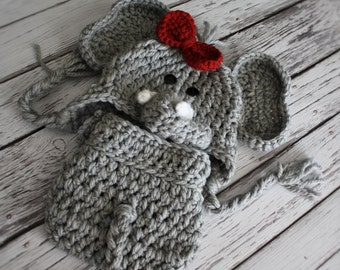 Girl Elephant Hat and Cover Set  - Baby Elephant Hat with Bow Clip - Crochet Elephant Hat and Cover -  Baby Halloween Cos