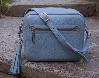 Mini box bag. Shoulder bag. Genuine Leather. Blue leather bag.  Detachable, adjustable flat leather strap. 8.4 x 6.4 x 2.8 inches.