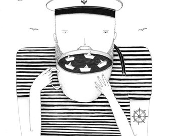 Coffee sailor A4 signed limited edition print