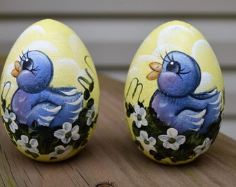 Hand Painted Blue Bird Wooden Egg, Hand Painted Wooden Egg, Wooden Egg, Blue Bird, Easter Egg, Personalized Egg, Easter Gift