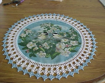 Crocheted Doilies Two Chick A Dees in the Apple Blossoms Doily Fabric Center Crocheted Edge Table Topper centerpiece