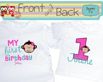 Monkey Birthday Shirt Monkey Girl Shirt Shirt Front and Back  Personalized Age Shirt Front and Back
