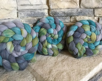 Targhee/Silk/Bamboo (80/10/10) Combed Top Spinning Fiber -Hand Painted - Feltable - approx. 4 ounces - MORAINE LAKE