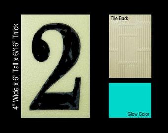 "No 2 Ceramic Tile House Number (4""w x 6""h)"