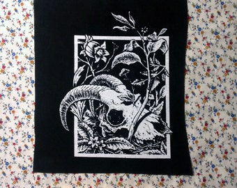 super crusty GOAT SKULL with some leaves and whatnot BACKPATCH thinking about life and death now arent you