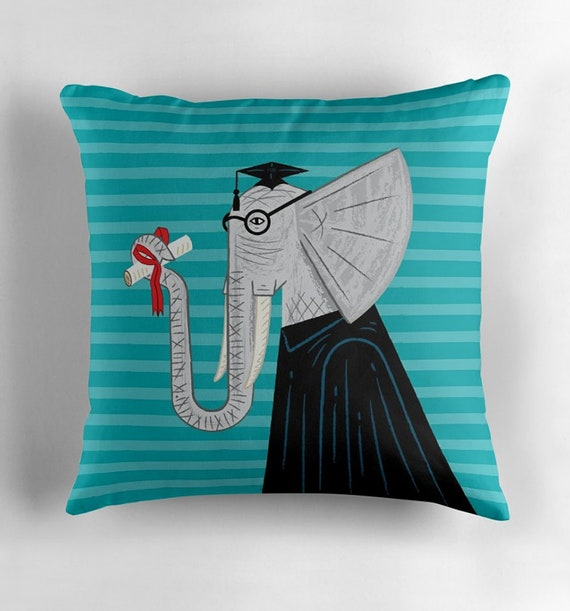 Intelligent Elephant - cushion cover / throw pillow cover including insert by Oliver Lake iOTA iLLUSTRATiON