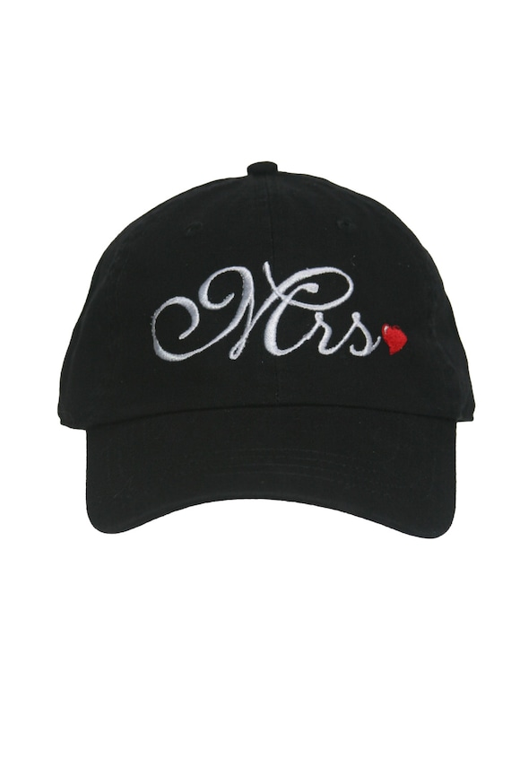 Mrs. for the Bride - Script with Red Heart - Ball Cap (Black with White Stitching)
