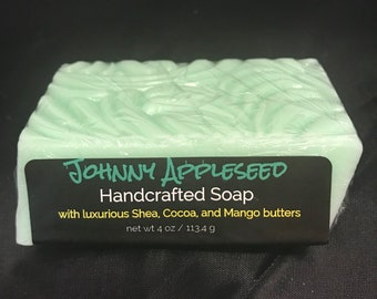 Johnny Appleseed Handcrafted Soap, Macintosh Apple, Natural, Artisan Soap, Shea Butter, Mango Butter, Cocoa Butter, Bath and Body Product