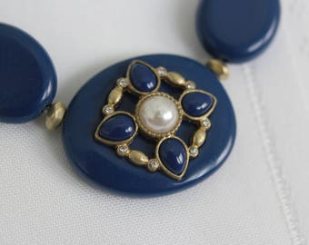 Dark Blue Necklace with Center Focal Bead