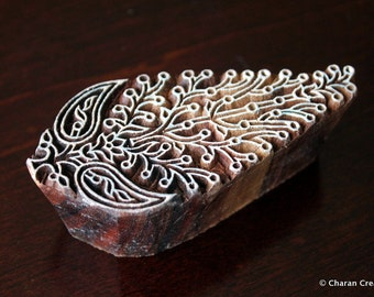 Indian wood stamp, pottery stamp, Fabric print stamp, Tjaps, Block Stamps- Stylized Paisley/Floral Motif