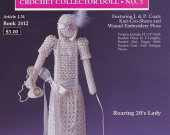 Roaring 20's Lady Collector Doll, South Maid J P Coats Crochet Doll Pattern Booklet 2412