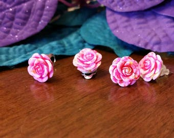 Pink and White flower charm earrings - resin cabochons - post or clip on available - girls jewelry accessories