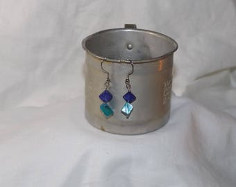 Purple and Turquoise Mother of Pearl and Silver Drop Earrings FREE SHIPPING!