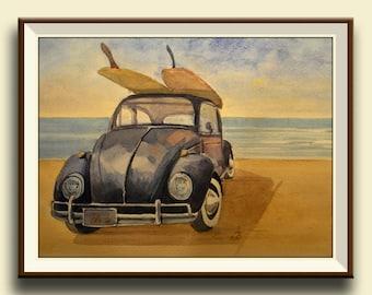PRINT-Volkswagen Beetle surfing classic car california surf art decor - Art Print by Juan Bosco