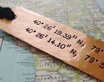 Double Latitude Longitude Bookmark, Two Coordinates, GPS Bookmark, Copper, Long Distance Gift, Military Deployment, Going Away, Hand Stamped