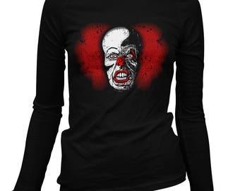Women's Battery Acid Long Sleeve Tee - S M L XL 2x - Ladies' T-shirt, Clown Tee, Scary Clown Shirt, Horror, Nightmare - 2 Colors