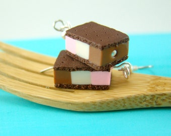 Ice Cream Earrings // MADE TO ORDER // Neapolitan Ice Cream Sandwiches // Miniature Food Jewelry