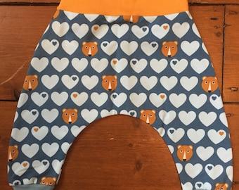 Mustard and blue bear heart cotton sweatshirt harem pants 6-12 months & 1-2 years