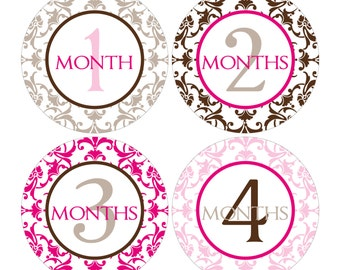 12 Monthly Baby Milestone Waterproof Glossy Stickers - Just Born - Newborn - Weekly stickers available - Design M007-07