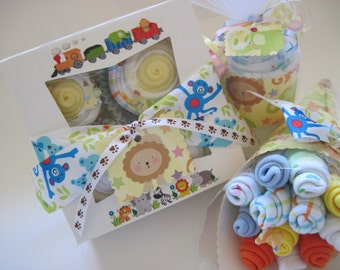 Neutral Baby Onesie Cupcake Gift Set with Baby Washcloth Bouquet and  Baby Blanket Cupcake