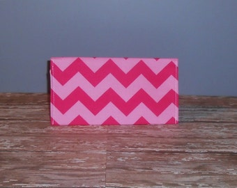 Checkbook Cover - Pink Chevron